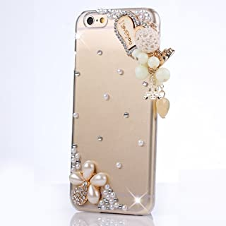 Sense-TE STENES iPod Touch (6th Generation) Case - Luxurious Crystal 3D Handmade Sparkle Diamond Rhinestone Clear Cover with Retro Bowknot Anti Dust Plug - Heart Pearl Pendant Flowers/Clear