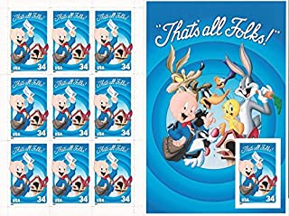 USPS Porky Pig Sheet of Ten Stamps with Imperforate Stamp Error Scott # 3535