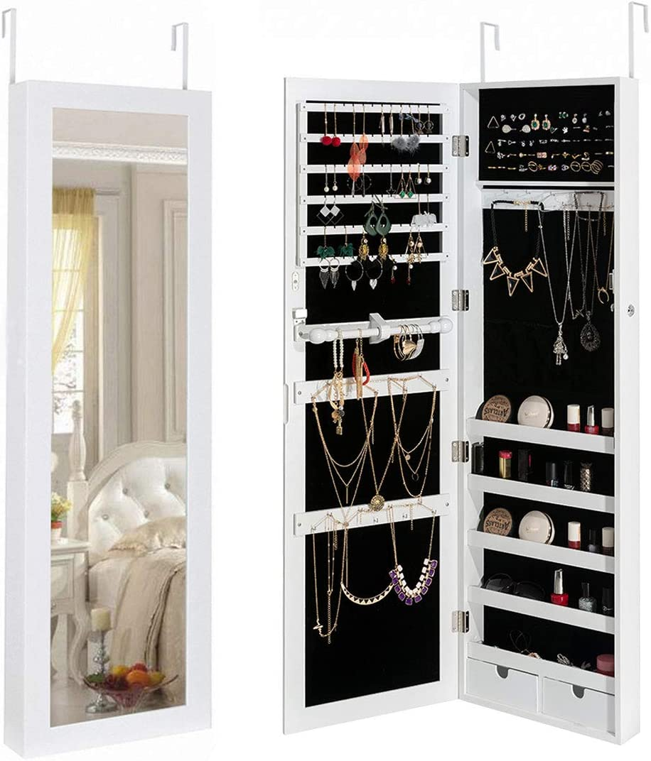 NEW before selling Marble Field Mirrored Jewelry Cabinet Wall Special Campaign Mounted Lockable Door