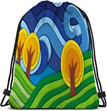 Drawstring Bundle Bag Sport Backpack Travelling Bag For Everyone landscape original technique effect cut paper hills trees clouds naive art graphics d graceful drawing