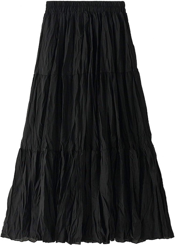Flygo Womens Elastic Waist A-Line Ruffles Skirt Smocked Frill Midi Skirts