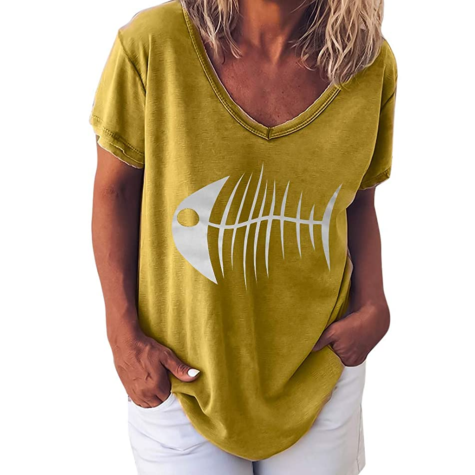 TWGONE Fish Bone T Shirt Women V Neck Loose Tops Short Sleeve Printed Tee