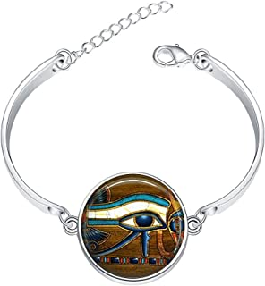 Simple Stainless Bangle Bracelet Wicca Wise Eyes Charms Pendant Bracelets Jewelry for Women