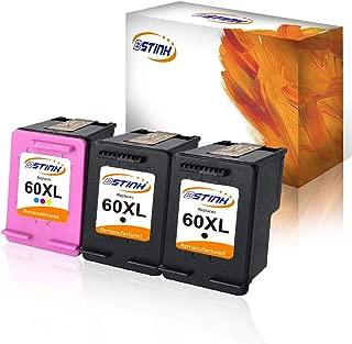 BSTINK Remanufactured Ink Cartridge Replacement for HP 60XL 60 XL,3 Pack for Photosmart C4680 D110 Deskjet D2680 F2430 F4210 Printer,2 Black 1 Tri-Color