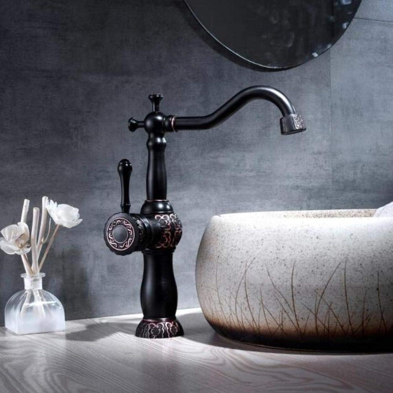Waschtischarmaturen Waschtischarmaturen aus massivem Messing Vintage ORB fertig Bad Wasserhahn einzigen Handgriff europischen heies und kaltes Wasser Becken Kunst geschnitzt