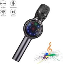 NINE CUBE Wireless Bluetooth Karaoke Microphone with Colorful LED Light, Gift for Friends and Kids,Portable Handheld Karaoke Speaker for Android/iPhone/PC or All Smartphone