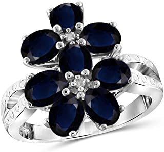 Jewelexcess 2.50 Carat T.G.W. Sapphire and Accent White Diamond Sterling Silver Flower Ring