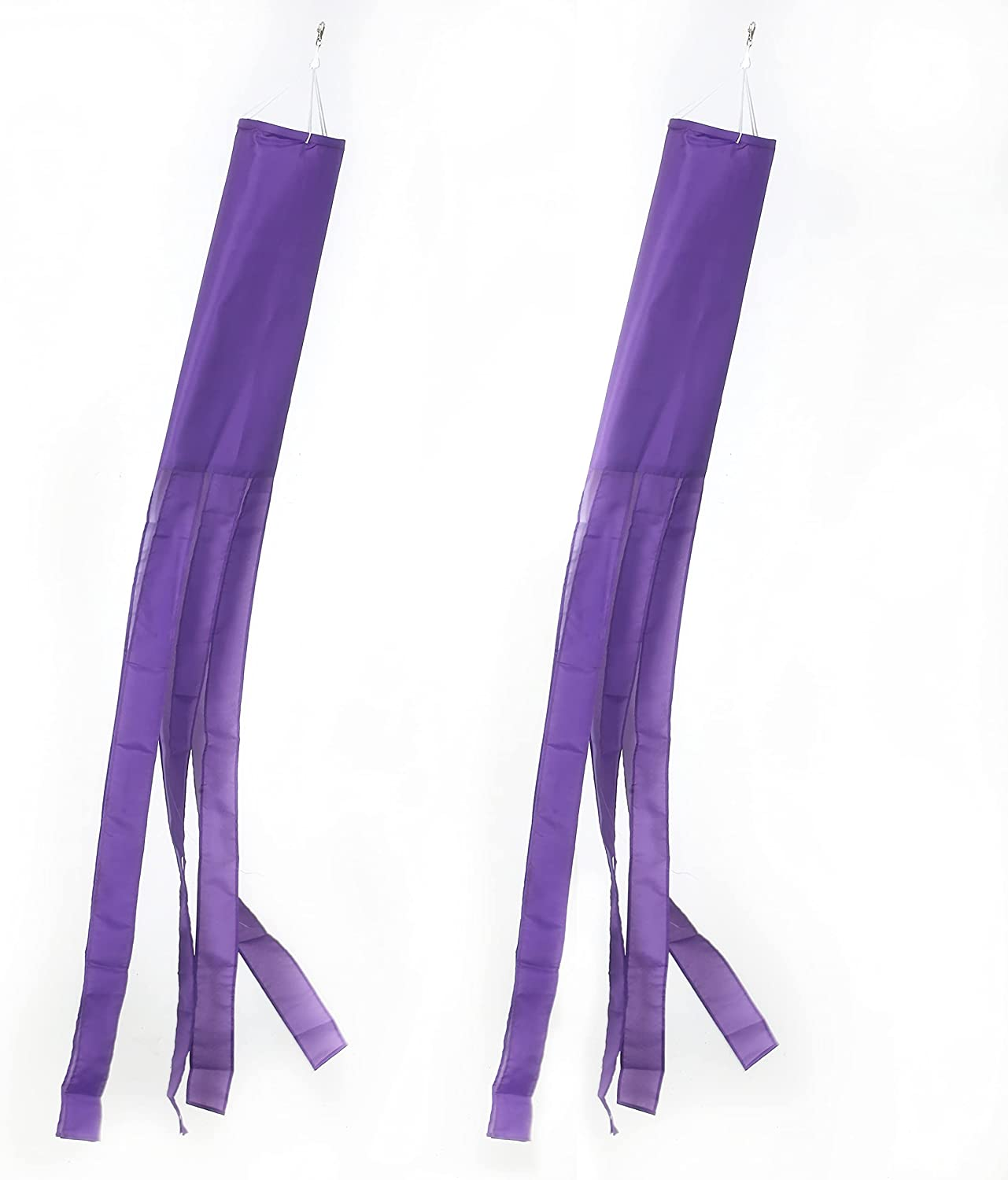 MSFHHA Purple Flag WindSock Solid Color 2 Pack Stripes Wind Socks for Yard and Garden Flag, 60 inch