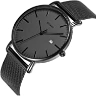 BUREI Men's Fashion Minimalist Wrist Watch Analog Deep Gray Date with Black Milanese Mesh/Leather...