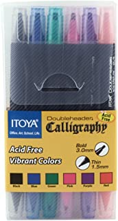 ProFolio by Itoya, Double Header Calligraphy Marker, 1.5mm and 3mm Chisel Tips - Assorted Colors, Set of 6