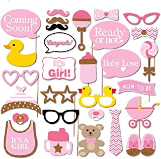 COKOHAPPY Pink and Gold Girls Baby Shower Photo Booth Props Kit, DIY Pose Sign Party Decoration Supplies - 30 Printed Pieces with Wooden Sticks