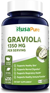 Graviola 1350mg 200 Veggie Caps (Non-GMO, Gluten Free) Soursop Supplement - Healthy Skin & Helps Promotes Cell Growth, Res...