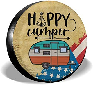 Waldeal Happy Camper American Flag Tire Covers