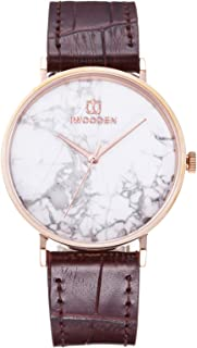 Andoer Quartz Watch Unisex Analog Watch with Leather Strap Marble Style Dial 3ATM Waterproof Business Casual Wristwatch fo...