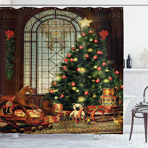ABAKUHAUS Weihnachten Duschvorhang, Magischer Weihnachtsbaum, Seife Bakterie Schimmel & Wasser Resistent inkl. 12 Haken & Farbfest, 175 x 200 cm, Braun-Rot-grün