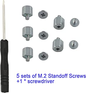 Kalanution M.2 Standoff and Screw for M.2 Drives,Asus Motherboard M.2 Screw + Hex Nut Stand Off Spacer(5 Sets)+1 pcs Screwdriver