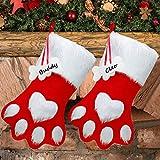 WILLBOND - Calcetín de Navidad para Mascotas, 2 Unidades, diseño de Huella de Perro, calcetín para Colgar, calcetín Rojo Personalizado, calcetín para Mascotas, Navidad, Vacaciones