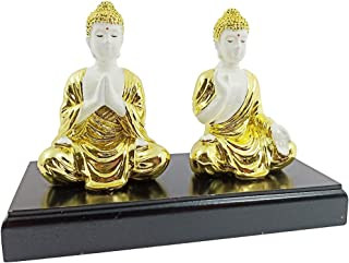 Crocon White & Golden Color 2 Buddha Set for Peace of Mind Feng Shui Mudra Positive Energy Wealth Home Decor Statues