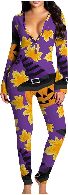 INESVER Women's Button-Down Jumpsuit Pajamas Halloween Print V Neck One Piece Long Sleeve Bodysuit Bodysuits