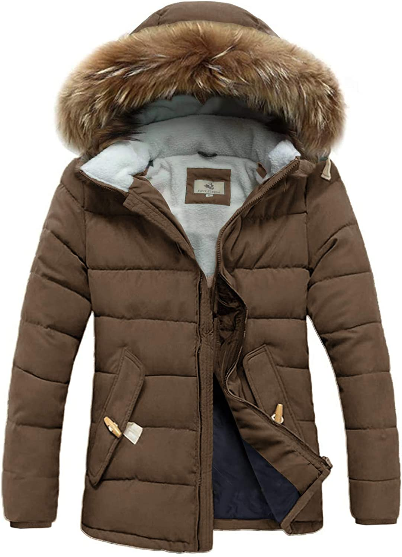 FOURSTEEDS Womens Faux Fur Hooded Warm Winter Outwear Parka Downs Puffer Coat