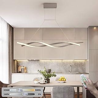 LED Colgante de luz Regulable Lámpara de mesa de comedor, con mando a distancia Moderno Araña de luces Altura ajustable 38W Creativo Espiral Diseño Metal Gel de sílice por Cocina Sala de estar