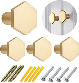 4 Pcs Hexagon Brass Drawer Knobs,27mm Cabinet Drawer Knobs, Single Hole Small Handle Surface Brass Wall Hooks Hat Rack for...