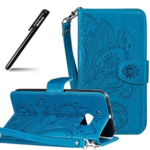 BtDuck HTC 10 Hülle Leder, Brieftasche Flip Cover PU Leder Schutzhülle Geldbörse Cases Shell Handycover Handytaschen mit Stander Function Credit Card Holder Slots Handyhülle HTC 10