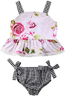 SUPEYA Toddler Baby Girls Floral Print Crop Tops Plaids Shorts Outfits Jumpsuit
