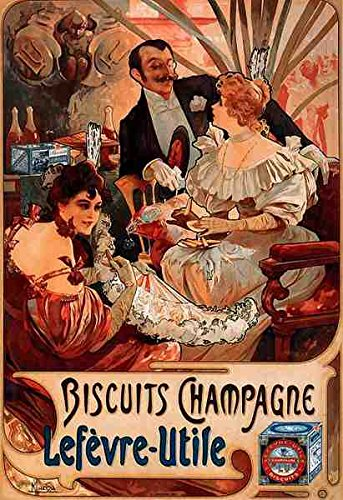 Alphonse Maria Mucha Koekjes Champagne Lefevre Utile A4 10x8 Photo Print Poster