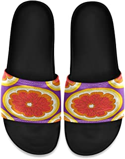 Tropical Ripe Grapefruit Purple Men's Leather Slide Sandals Summer House Slippers Bedroom Boys