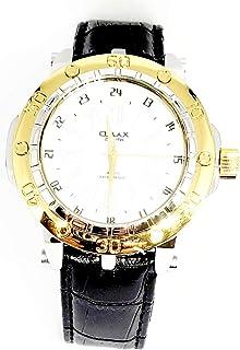 ساعة اوماكس للرجال - رياضية، متعددة الألوان، مينا ابيض - سوار من الجلد - مقاومة للماء - Beeb1228