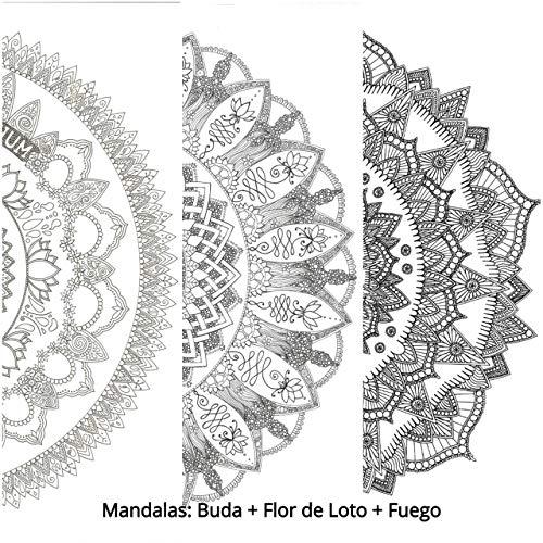 PACK 3 MANDALAS PARA COLOREAR GIGANTES: Mandala Buda + Mandala Flor de Loto + Mandala Fuego. Pósters de gran tamaño para pintar y decorar. Cartulinas gruesas de 50 x 70 CMS.