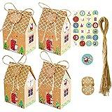 Ruluti 24 Sets Cajas de Regalo de Papel de Caramelo de Navidad Bolsas de Papel de Regalo de Fiesta de Navidad con Etiquetas Cintas de Copo de Nieve para Presenta Caramelos