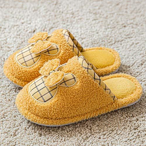 XZDNYDHGX Mujer Hombre Zapatillas de Casa,Zapatillas de Felpa de Dibujos Animados de Invierno para Mujer, Zapatos para el hogar, Zapatos Planos Zapatos de Pareja, Diapositivas, Amarillo EU 35-36
