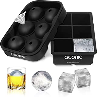 Ice Cube Tray, Adoric Large Square Ice Tray and Sphere Ice Ball Maker with Lid, Funnel for Whiskey, Reusable and BPA Free...