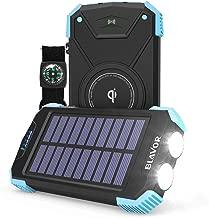 Solar Power Bank, Qi Portable Charger 10,000mAh External Battery Pack Type C Input Port Dual Flashlight, Compass (IPX4 Splashproof, Solar Panel Charging, DC5V/2.1A Input) (Light Blue)