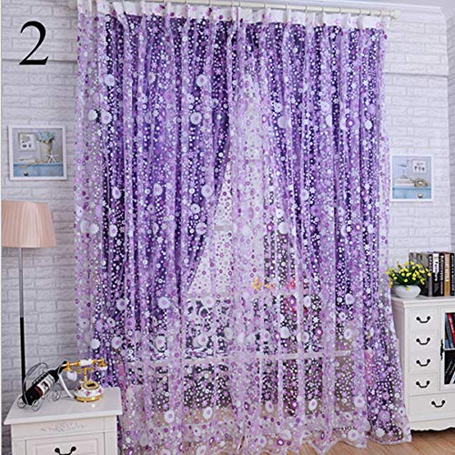 charmsamx Lace Fresh Floral Sheer Curtains, Double Side Semi-Sheer Rod Pocket Voile Curtain Panels 79 inch Long for Bedroom Living Room Window Treatment Spring Bloom (Purple)