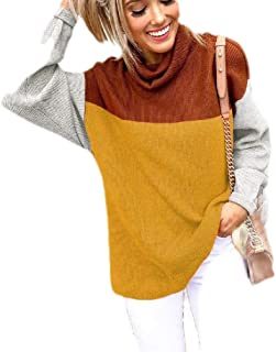 Macondoo Women Pullover Knitwear Turtle Neck Casual Color Block Jumper Sweater