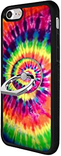 Tie Dye Case with Ring Holder Stand for iPhone 7 8,TPU and PC Customized Design Skin 360 Rotating Ring Grip Holder Anti-slippery iPhone 7 8 Protective Case-Black