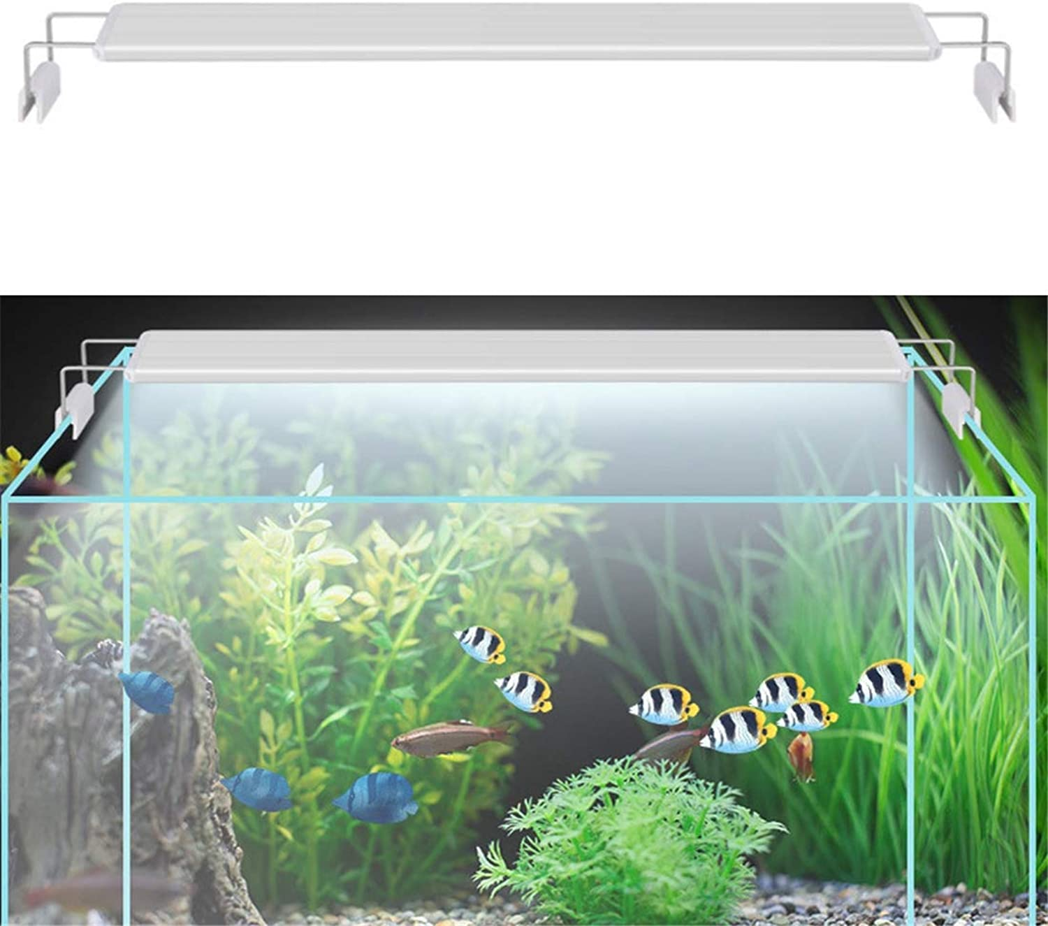 3 Row Fish Tank Clip Light Aquarium LED Light White bluee Lighting with Extendable Brackets,6W20CM
