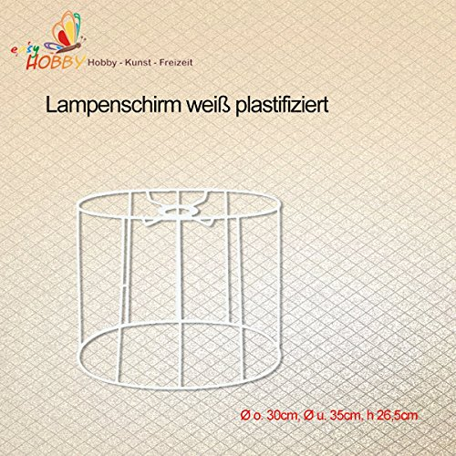 Soporte de pantalla para lámpara SMITS, blanco plastificado ovalado, diámetro o 30 cm, diámetro y 35 cm, altura 26,5 cm.