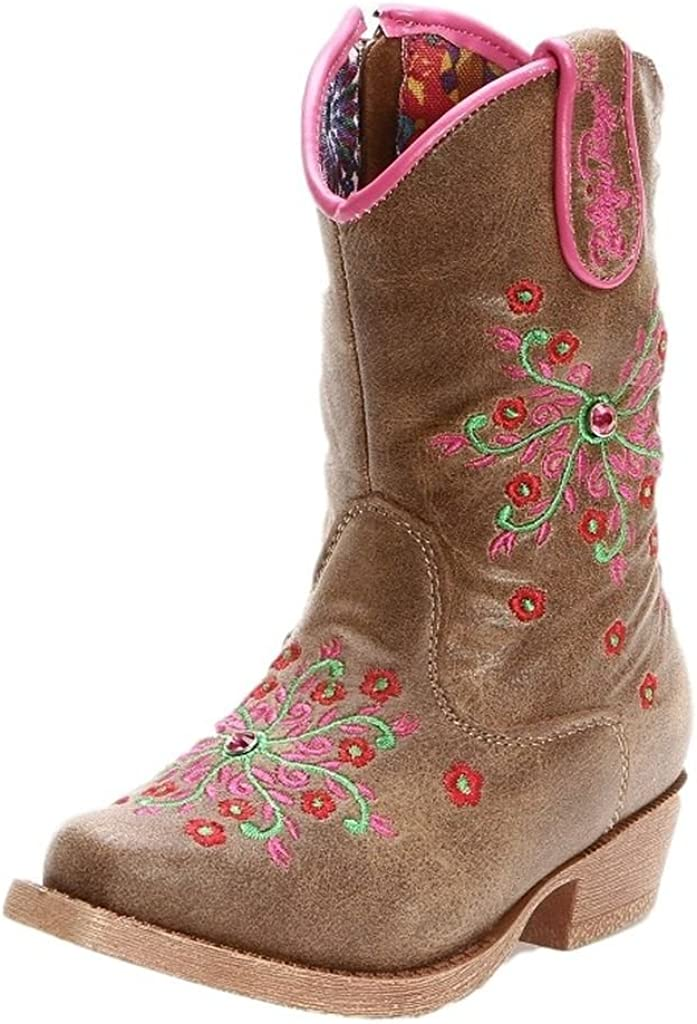 Blazin Roxx Toddler-Girls' Savvy Embroidered Zipper Cowgirl Boot Snip Toe (Brown, numeric_6_point_5)