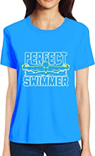 Pooplu Womens Perfect Swimmer Cotton Printed Round Neck Half Sleeves Multicolour T Shirt. Sports, Diving, Swimming, Symbol Tshirts