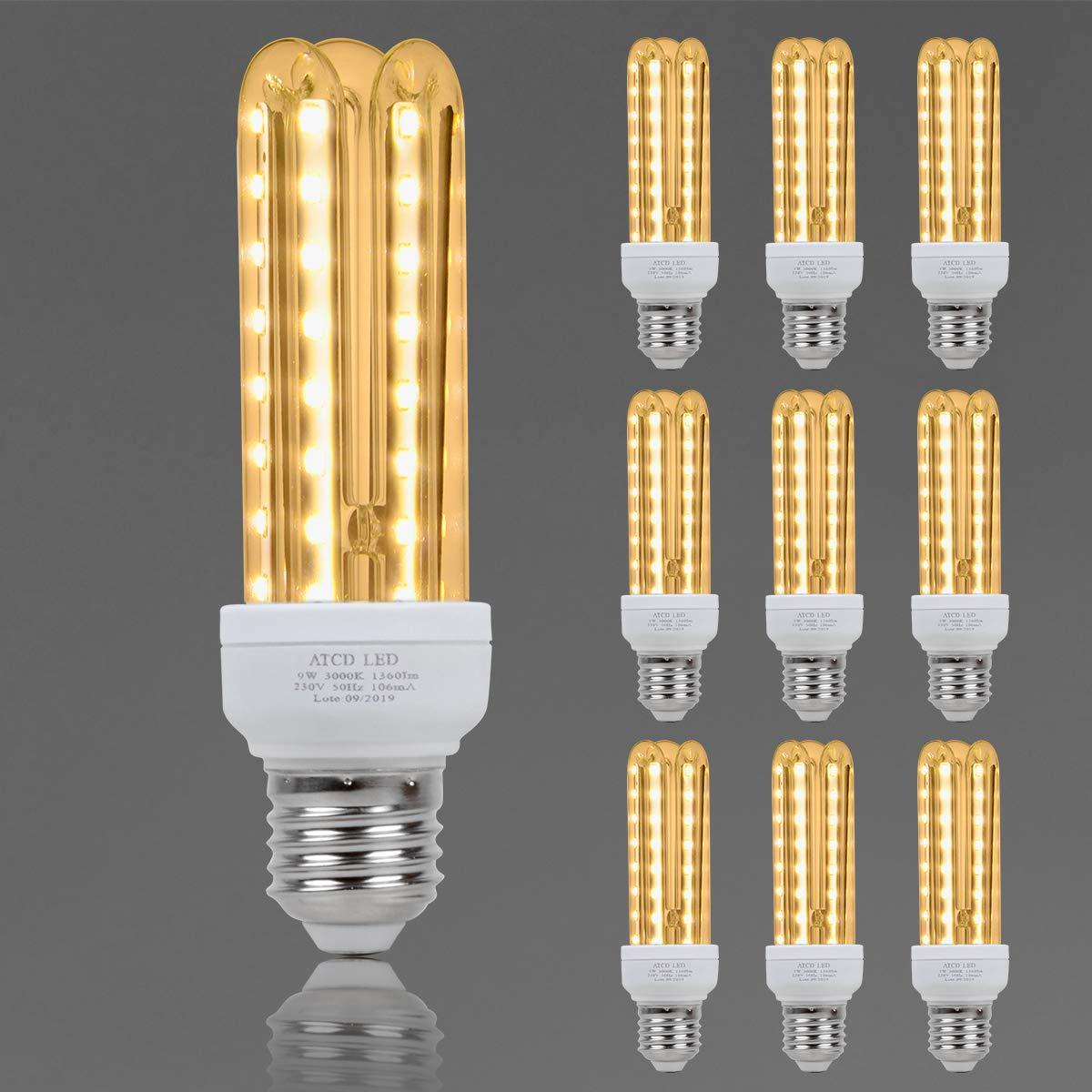 Bombilla LED, ATCD Bombillas Led e27 Luz Calida, Bombilla Led Estándar e27 3U, 9 W Equivalente