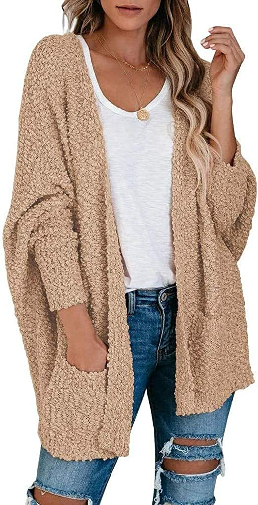 soyienma Sweaters for Women,Womens Open Front Long Sleeve Waffle Chunky Knit Cardigan Sweaters Outwear with Pockets