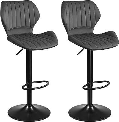 SONGMICS Tabourets de Bar, Lot de 2 chaises Haute, Siège pour Cuisine, avec Structure métal, revêtement Velours, Repose-Pieds, Hauteur réglable, Facile à Assembler, rétro, Gris Foncé LJB070G01