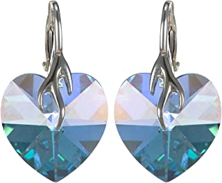 Crystal Diva Women's Silver Blue Swarovski Elements Earrings