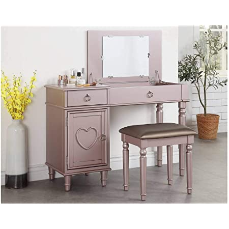 Amazon Com Poundex Bedroom Vanity Set In Rose Gold Furniture Decor