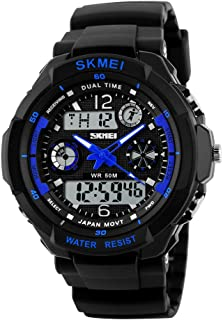 SKMEI Men's 50M Waterproof Sport Watch Outdoor Mountaineering or Hiking Watches LED Digital Watch for Kids Children's Boy Men's (Large, Blue)