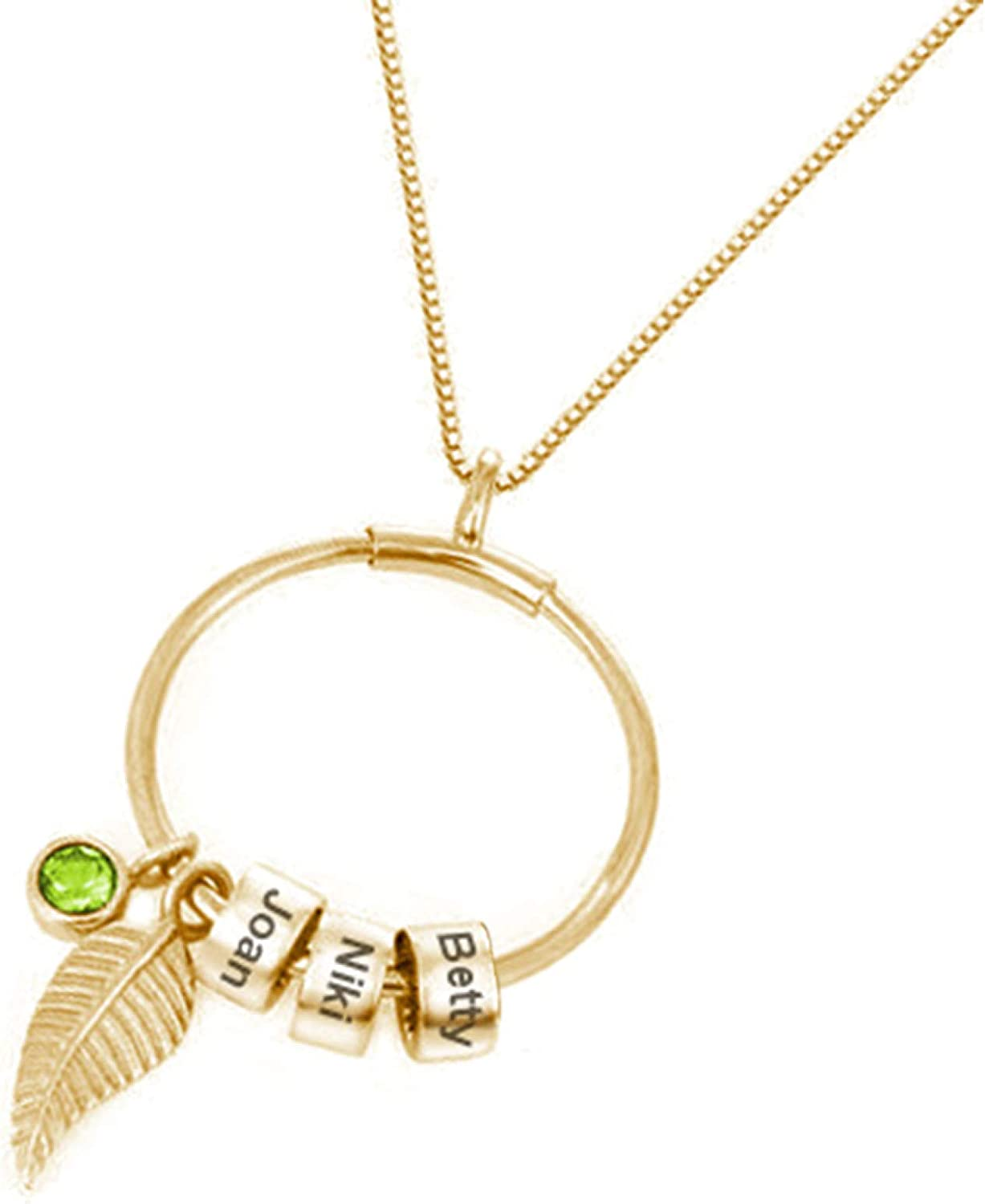 Gsdviyh36 Seasons Women Necklace Women Name Engraved Rhinestone Beads Leaf Pendant Chain Necklace Jewelry Gift for Party Jewelry